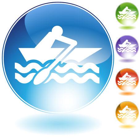 rowboat: Icono de cristal del bote de remos aislado en un fondo blanco.