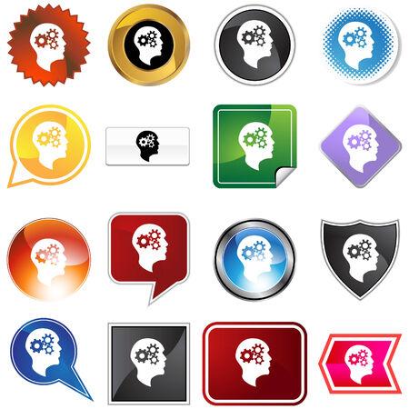 Cog wheel mind variety set isolated on a white background. Illustration