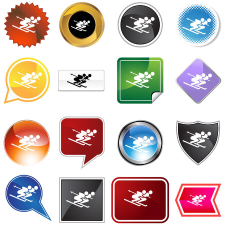 Skier variety set isolated on a white background. Vector