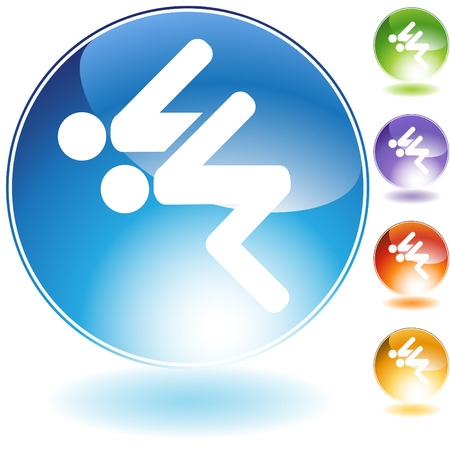competitions: Swimmer crystal icon isolated on a white background.