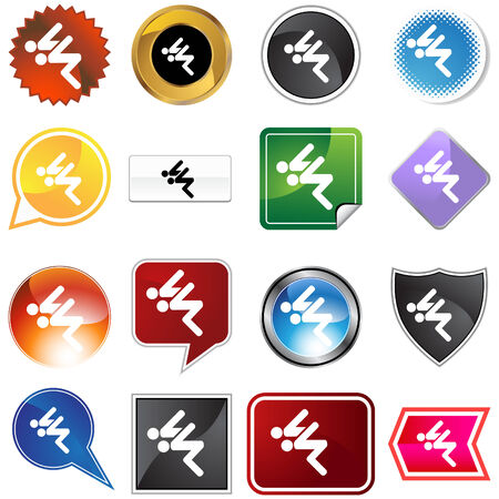 Swimmer variety set isolated on a white background. Vector
