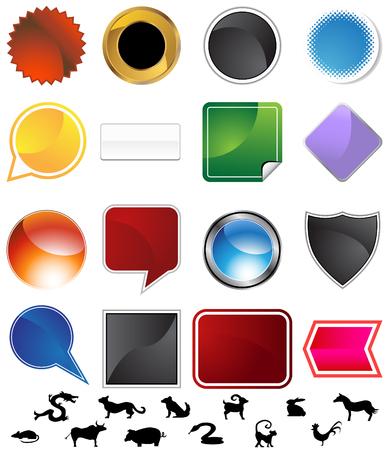 square shape: Chinese zodiac variety set isolated on a white background. Illustration