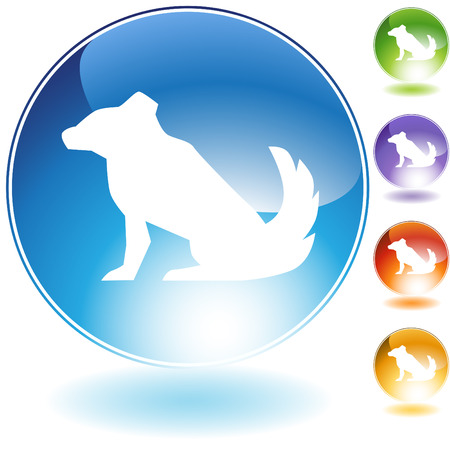 chinese astrology: Dog crystal icon isolated on a white background. Illustration