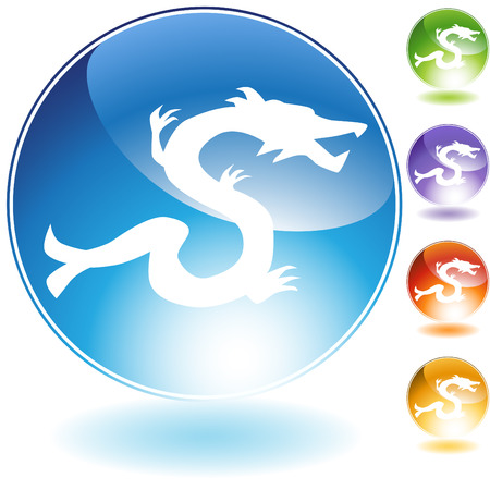 chinese astrology: Dragon crystal icon isolated on a white background. Illustration