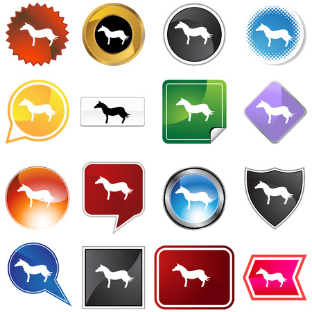 Horse variety set isolated on a white background. Vector