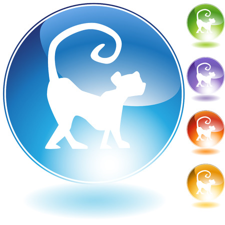 chinese astrology: Monkey crystal icon isolated on a white background.