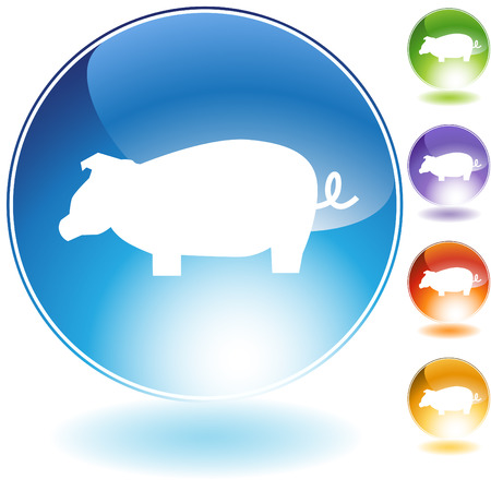 chinese astrology: Pig crystal icon isolated on a white background.