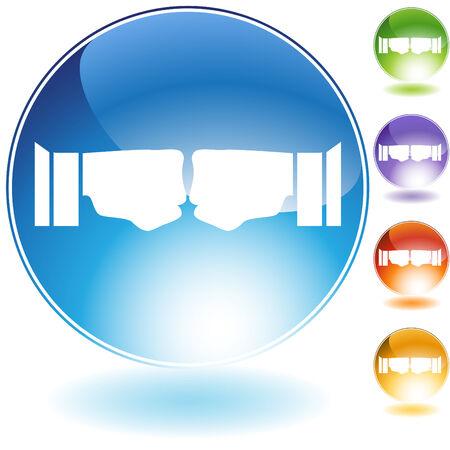 Fist bump crystal icon isolated on a white background. Illusztráció