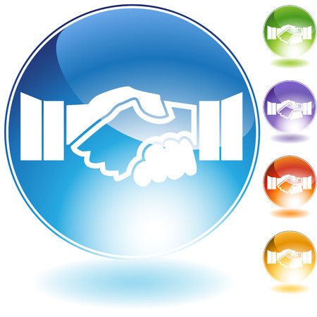 blue button: Handshake crystal icon isolated on a white background. Illustration