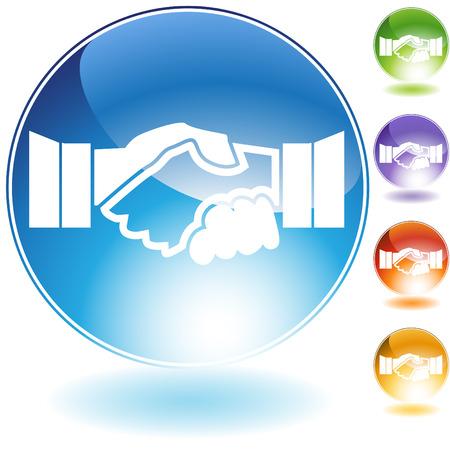 Handshake kristal pictogram geïsoleerd op een witte achtergrond.