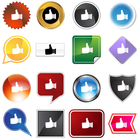 Thumbs up variety set isolated on a white background. Stock Vector - 5950707
