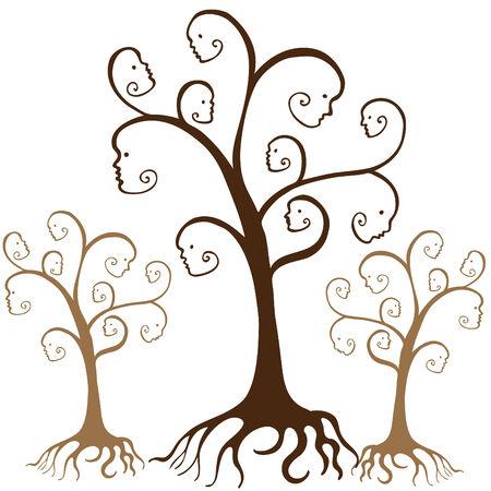 arboles blanco y negro: Caras de �rbol de la familia aislados en un fondo blanco.