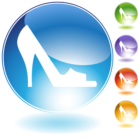 open toe: Open toe shoe crystal icon isolated on a white background.