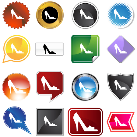 open toe: Open toe shoe variety set isolated on a white background. Illustration