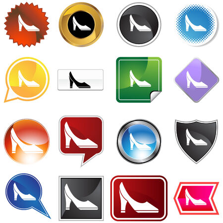 Pump shoe variety set isolated on a white background. Illustration