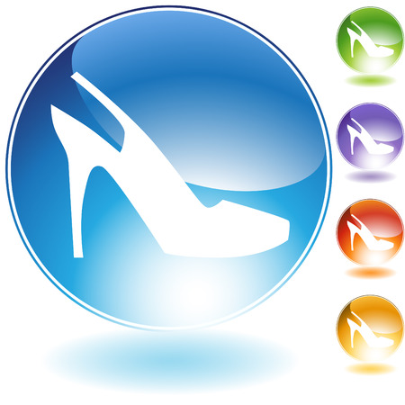 heel strap: Strap shoe crystal icon isolated on a white background.