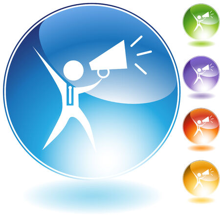 Megaphone businessman crystal icon isolated on a white background. Vector