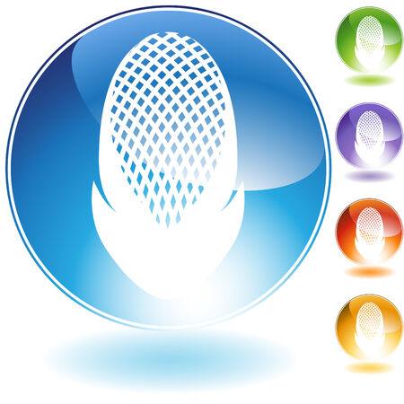 Fencing  helmet crystal icon isolated on a white background. Ilustração