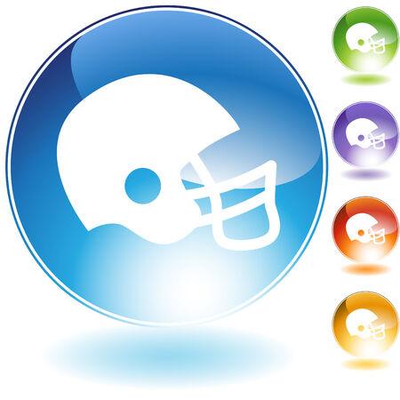 Voet bal helm crystal pictogram geïsoleerd op een witte achtergrond. Stock Illustratie