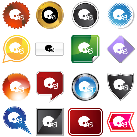 white background: Football helmet variety set isolated on a white background. Illustration