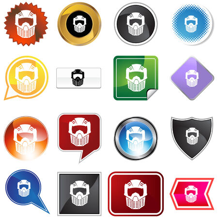 Paintball mask helmet variety set isolated on a white background. Vector
