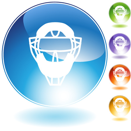 an umpire: Umpire mask helmet crystal icon isolated on a white background.