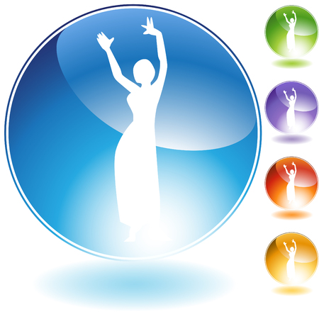 belly dancer: Belly dancer people crystal icon isolated on a white background.