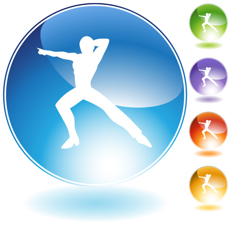 male dancer: Male dancer crystal icon isolated on a white background.