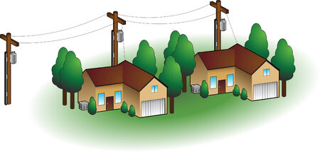 powerlines: Neighborhood homes isolated on a white background.