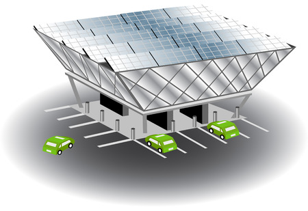 Solar recharging station isolated on a white background. Illustration