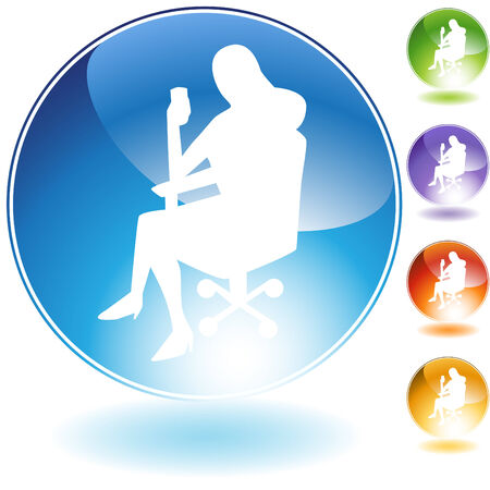 Sitting business woman crystal  isolated on a white background. Stock Vector - 6059632