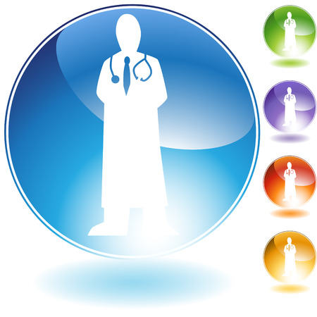 медик: Physician crystal isolated on a white background.