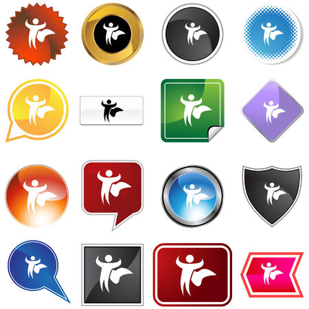 Hero variety set isolated on a white background. Vector