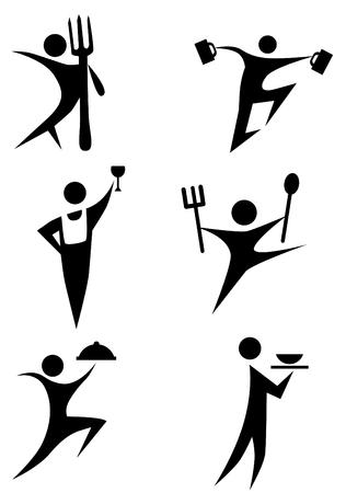 strichm�nnchen: Eating Strichm�nnchen Icon-Set isoliert auf wei�em Hintergrund.  Illustration
