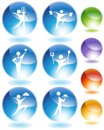 glow stick: Eating crystal icon set isolated on a white background. Illustration