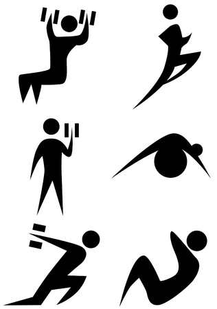 Exercise stick figure icon set isolated on a white background.