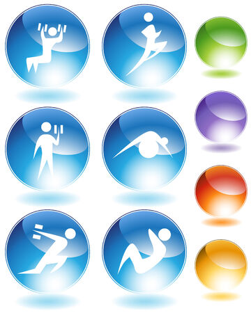 Exercise crystal icon set isolated on a white background. Stock Vector - 6090310