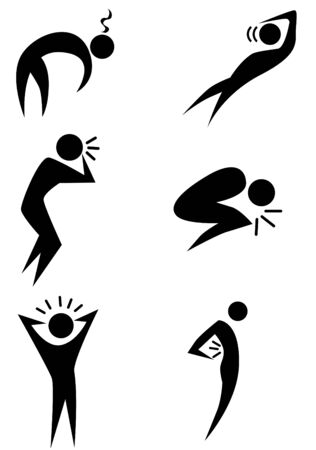 migraine: Illness stick figure icon set isolated on a white background.