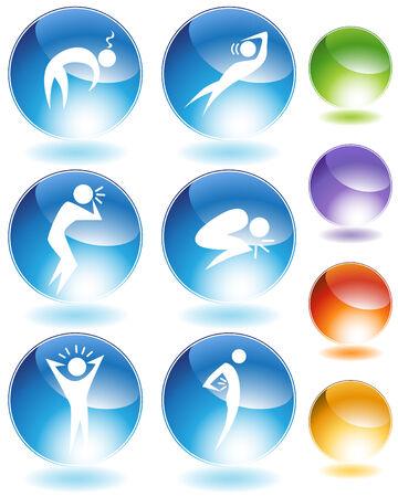Ziekte crystal icon set geïsoleerd op een witte achtergrond.