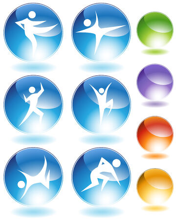 Karate crystal icon set isolated on a white background.