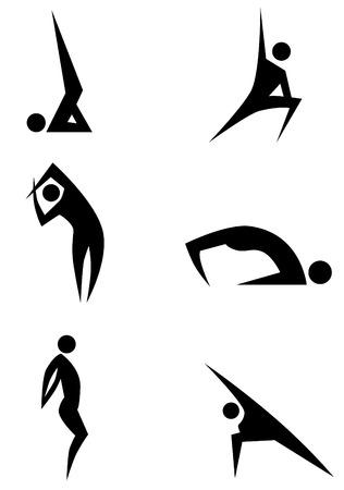 Yoga stick figure icon set isolated on a white background. Stock Illustratie