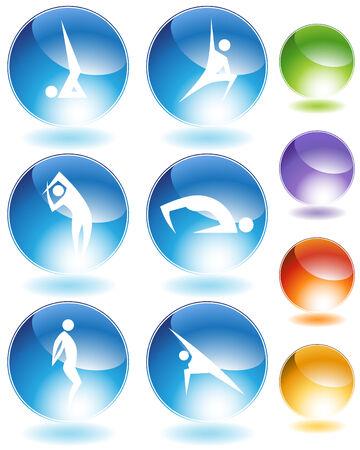 Yoga crystal icon set isolated on a white background. Illustration