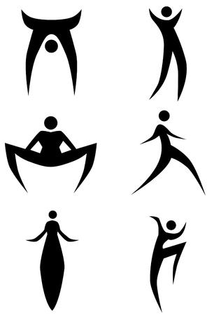 zancos: Stilts figura de palo aislada en un fondo blanco.