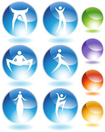 stilts: Stilts stick figure crystal icon set isolated on a white background.