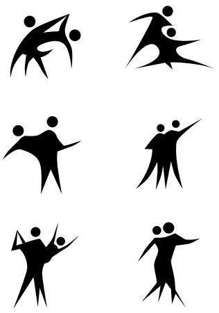 Couple dancing stick figure set isolated on a white background.