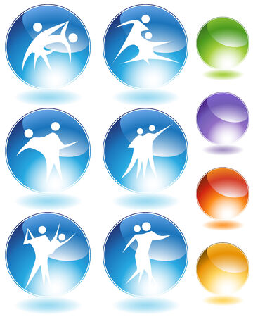 Couple dancing crystal icon isolated on a white background. Vector