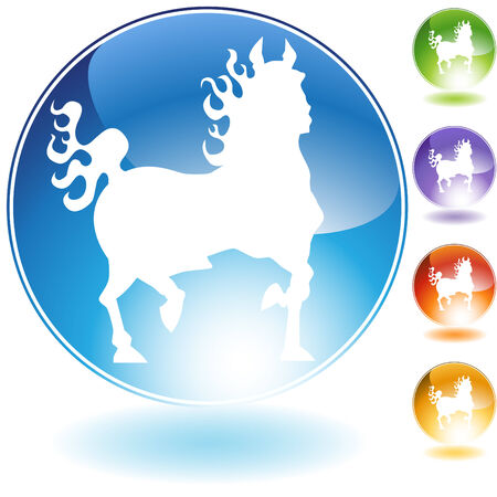 Fire horse crystal icon isolated on a white background.