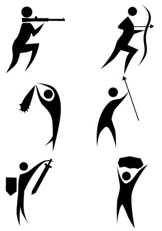 warriors: Hunter stick figure set isolated on a white background. Illustration