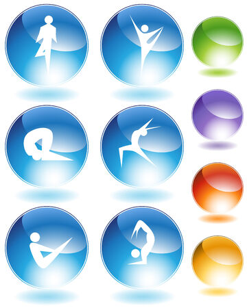 Contortionist crystal set isolated on a white background. Illustration