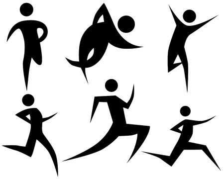 Zestaw rysunek stick Runner wyizolowanych na białym tle. Ilustracje wektorowe